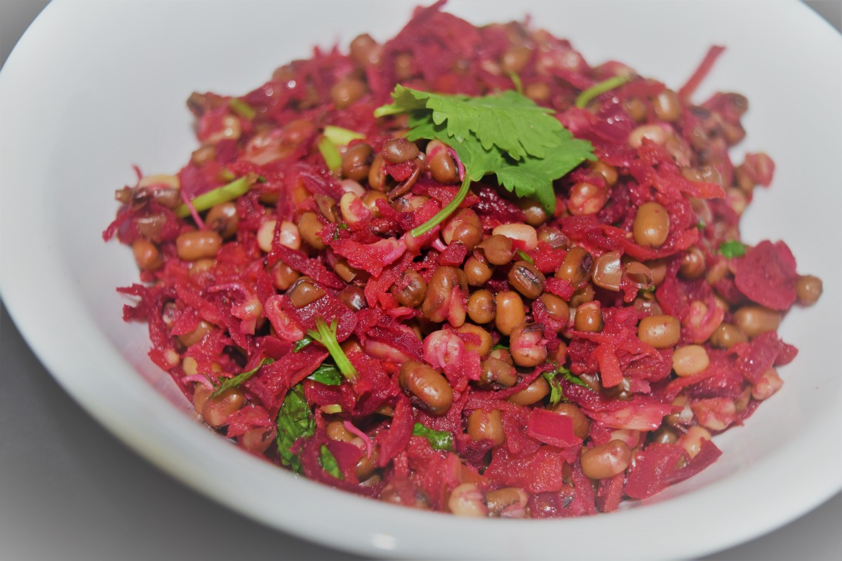 Mung bean sprout and Beetroot salad recipe